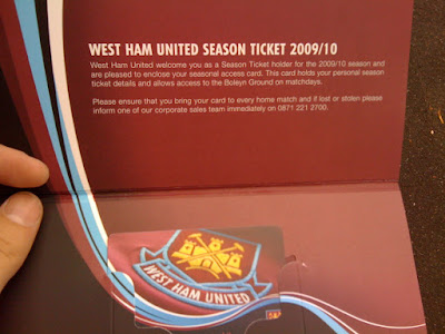 West Ham Season Ticket for the Bobby Moore Stand