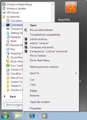 run line commands in windows 7