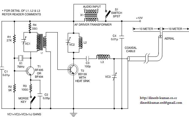 electronics projects  7mhz cw  am qrp transmitter