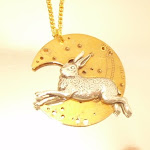 Hare and Moon Steampunk Pendant
