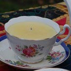 Beeswax Candles in China Cups