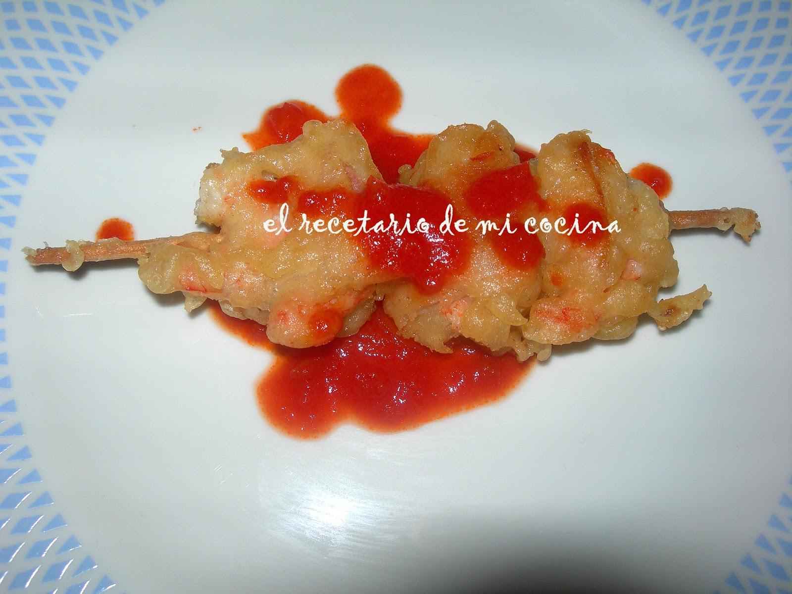 El recetario de mi cocina brocheta crujientes de gambas y - Brocheta de langostinos y bacon ...