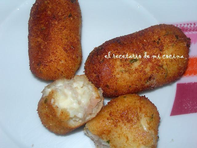 croquetas de jamón de pavo y queso