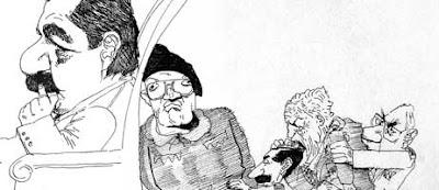 Caricatura de Sábat: Raúl Alfonsín sentado en el sillón presidencial; detrás lo empujan Aldo Rico, Jorge Rafael Videla, Roberto Viola, Leopoldo Fortunato Galtieri y Reynaldo Bignone.