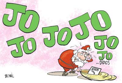 Tarjeta de Finde año de Bonil con Papá Noel y la crisis