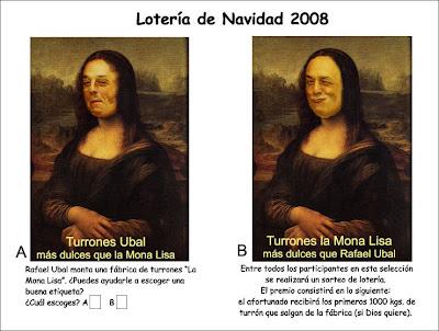 Tarjeta de Rafael Ubal/Mona Lisa y Escuela Iberoamericana del Humor y de la Risa Pepe Viyuela