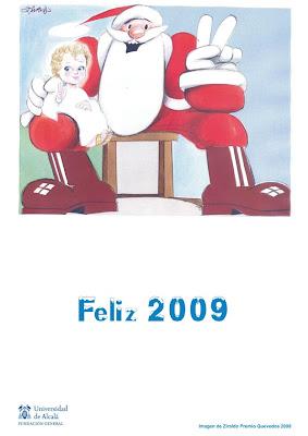 Tarjeta de Felices Fiestas del Programa de Humor Gráfico de la Fundación General de la Universidad de Alcalá con viñeta de Ziraldo (Premio Quevedos 2008)