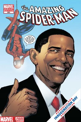 Barack Obama y Spiderman en un cómic