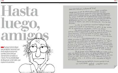 Hasta luego, Amigos: La carta donde Quino anuncia que deja de dibuja por un tiempo