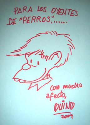 Felipe dibujado por Quino en el programa Perros de la Calle