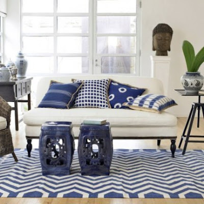 White and Blue Living Rooms with Garden Stools