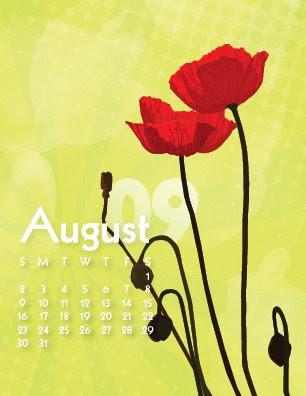 August Poppies Calendar