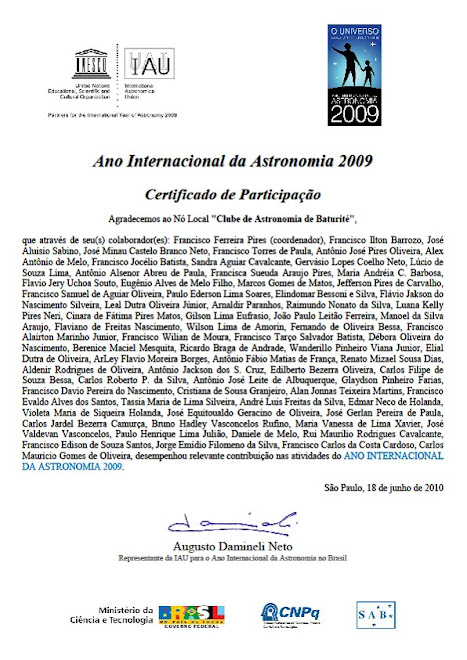 Certificado do ano Internacional da Astronomia