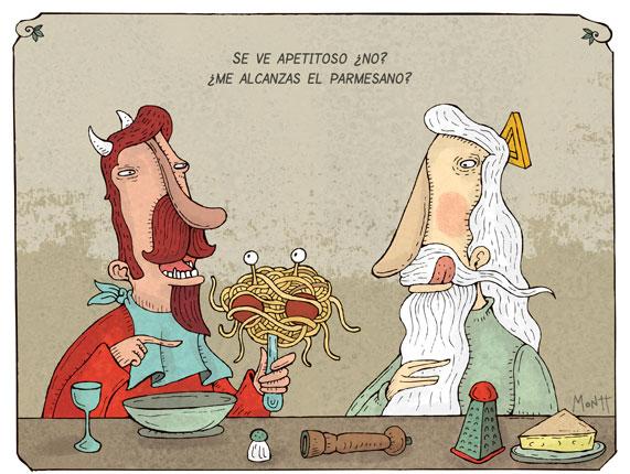 Humor gráfico sobre las religiones y dioses Spaghetti