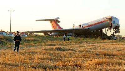view of the wreckage of an Ilyushin Il-62