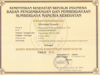 Piagam Penghargaan Dosen Berprestasi Kemenkes RI Th 2010 yg ...