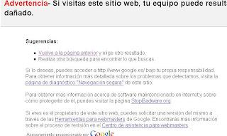 advertencia de seguridad de google, fallo del dia sabado 31 de enero 2009 pagina siguiente