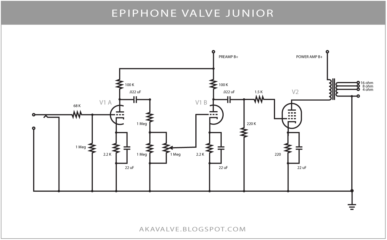 Epiphone Valve Junior Schematic Fender Champ Wiring Diagram Akavalve Gain Reduction Due To R6 And R7 In Rh Blogspot Com
