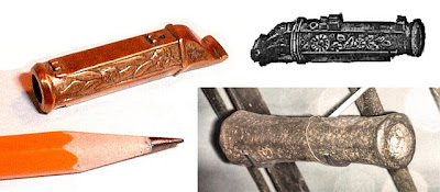 Miniatur replika dari meriam tangan Chinese, dan Hand Bombard, Eropa 1380