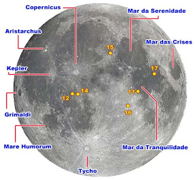 Mapa da Lua. Observe e saiba o que está vendo!