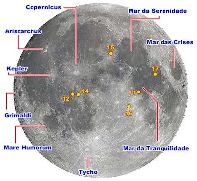 Mapa da Lua. Observe e saiba o que está vendo!