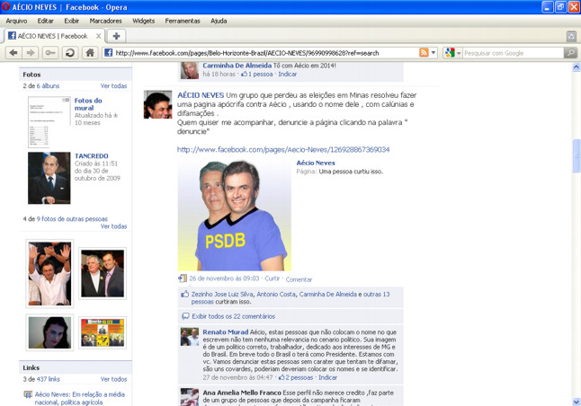 censura Acio Neves no facebook