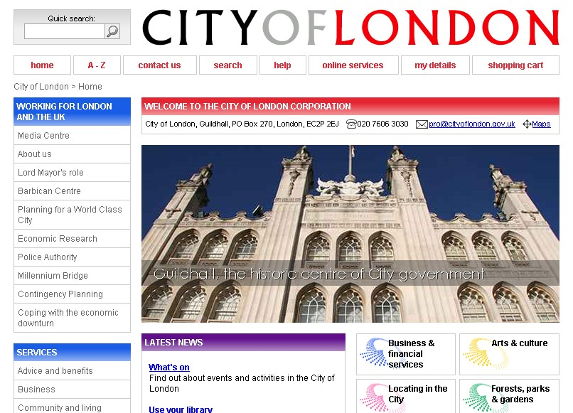 The City of London hivatalos oldala (cityoflondon.gov.uk)