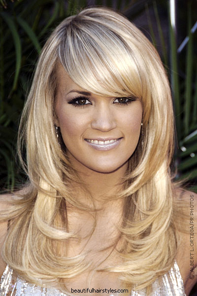 hairstyles for long hair with bangs and layers for girls. prom ...