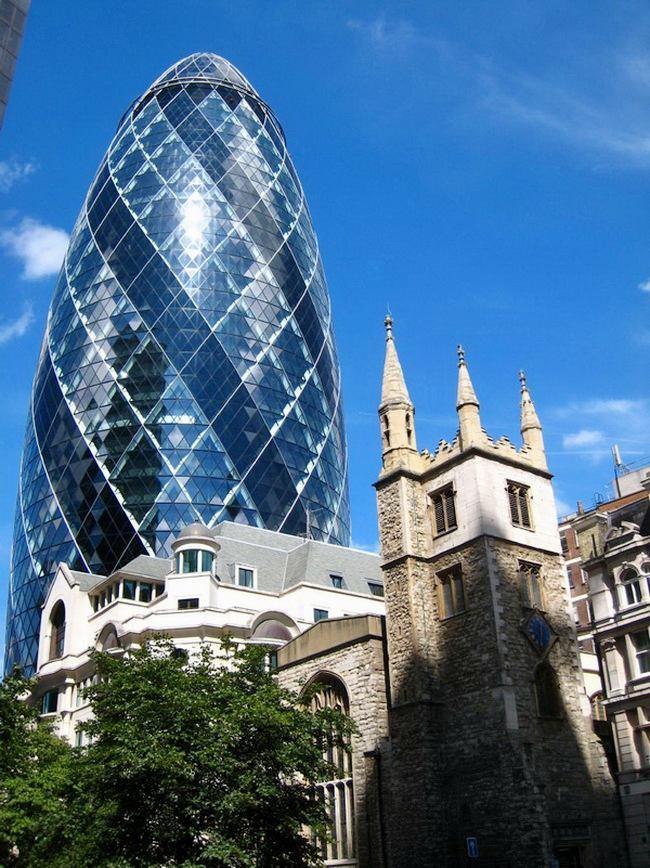 Skyscraper Gherkin building in London or cucumber