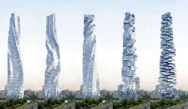 Dynamic Tower in Dubai. Tower, whose every floor is moving on its own axis, independently of the others. The first building that can change its shape. Still under construction.