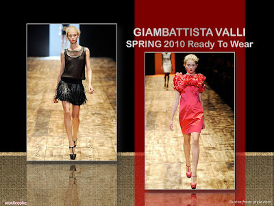 Giambattista Valli Spring 2010 Ready To Wear red ruffles bodice dress and black see-thru top and leather fringe skirt