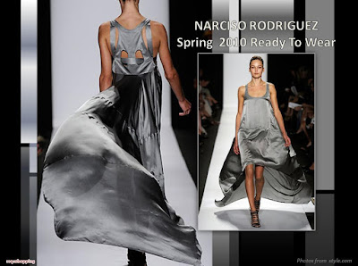 Narciso Rodriguez Spring 2010 Ready To Wear grey cutout short-front-long-back gown