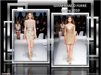 Gianfranco Ferre Spring 2010 Ready To Wear gold mini-dress and skirt