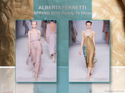 Alberta Ferretti Spring 2010 Ready To Wear chiffon calf-length dress