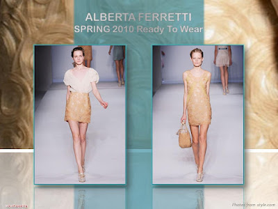 Alberta Ferretti Spring 2010 Ready To Wear ivory bodice and butter rosette passementerie skirt
