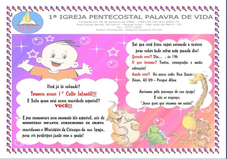 cartaconvite ministerio infantil