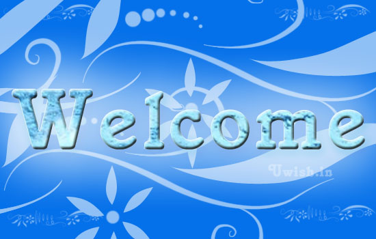 Welcome e greeting cards and wishes with ornamental blue background.