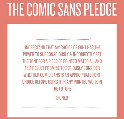 The Comic Sans Pledge