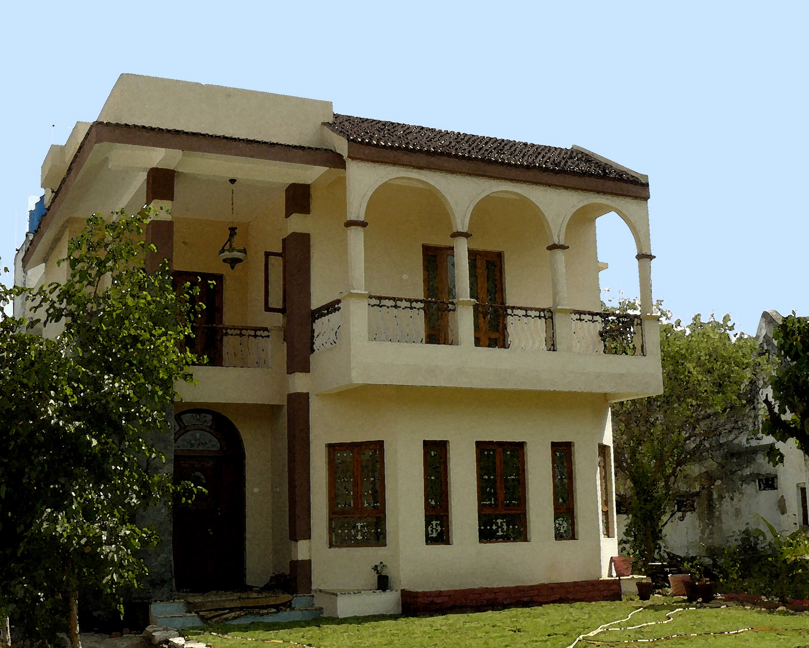 House Front Elevation Painting : Indian home front elevation painting colours joy studio