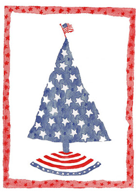 patriotic tree christmas card - Patriotic Christmas Cards