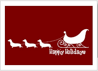 Dachshund Riding Santa Cart Cards