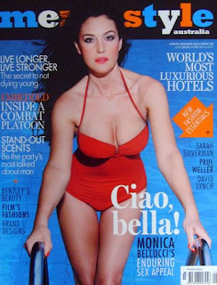 Monica Bellucci in red swimsuit for Men's Style