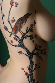 tattoo cerejeira árvore da cereja com pássaro
