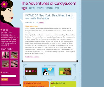 The Adventures of Cindy Li, Excellent Blog Designs