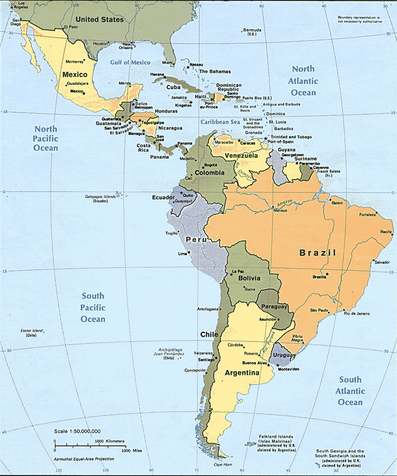 Map of Latin America. The scientists examined the genetic make-up of