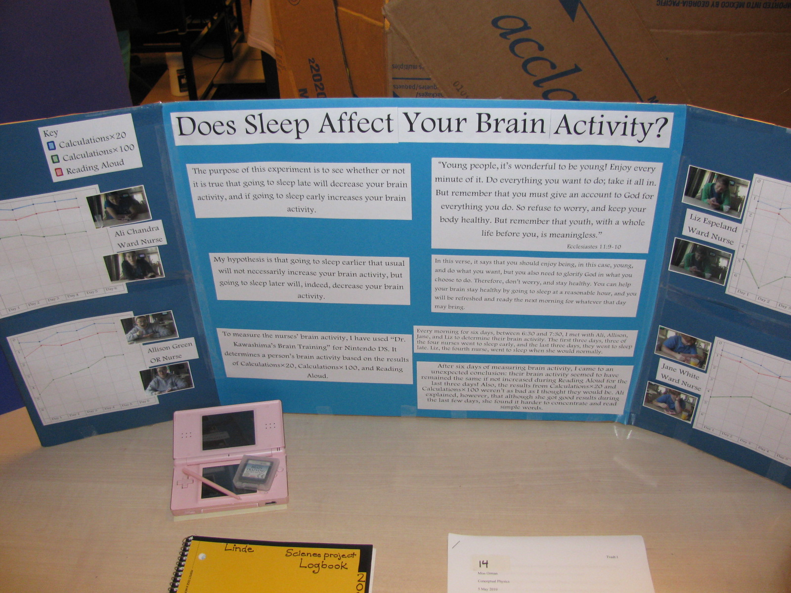 machine industries academy science fair a couple of my friends took part in this experiment by staying up late in order to see if a lack of sleep makes one less alert during the day