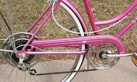 pink Schwinn Suburban bicycle drivetrain