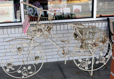 wrought iron planter bike