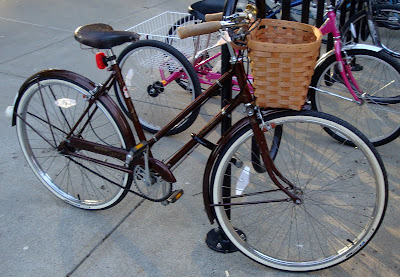 beautiful brown three speed bike