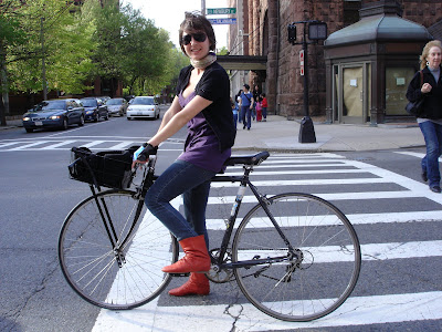 red boots girl on bike